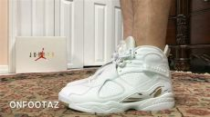 air jordan 8 ovo on feet air 8 viii ovo white on foot