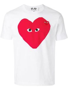 comme des garcons play white t shirt lyst comme des gar 231 ons play logo t shirt in white for