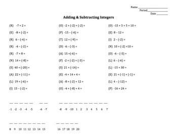 adding subtracting integers worksheet fun 8th grade math