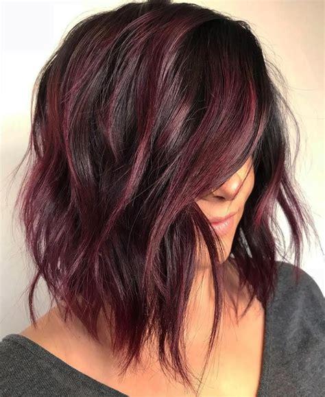 80 sensational medium length haircuts thick hair burgundy
