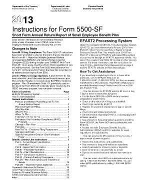 fillable online dol 2013 form 5500 sf instructions