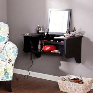 floating vanity ledge mirror makeup station desk shelf