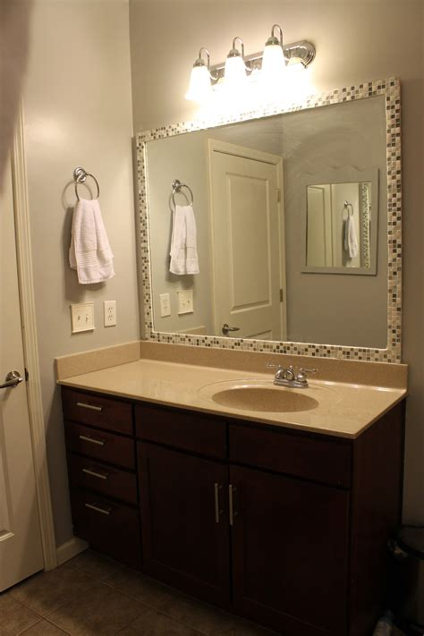 frame mirror tile bathroom mirrors diy bathroom mirror