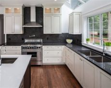 backsplash ideas for white cabinets and black granite countertops white hanging cabinet finish patterned black granite countertop outofhome backsplash kitchen