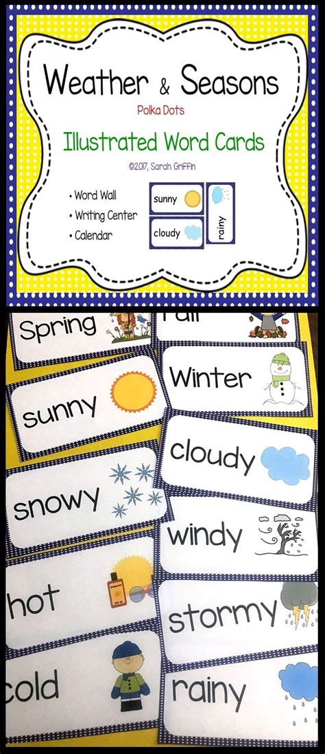 weather seasons vocabulary word wall cards images weather