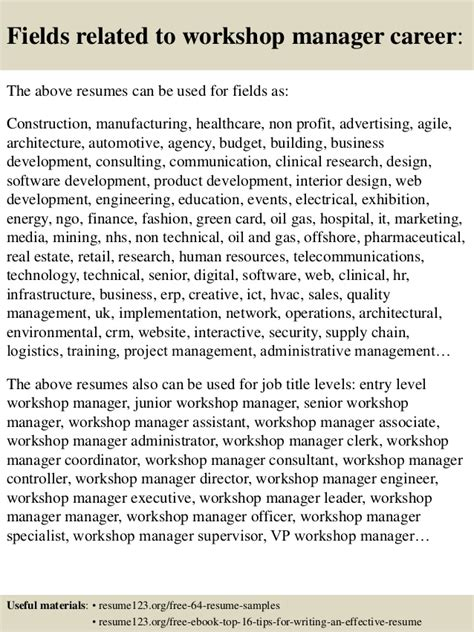 top 8 workshop manager resume sles