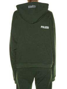 vetements green polizei hoodie vetements hooded polizei print sweatshirt in green lyst
