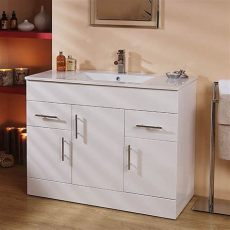 large bathroom vanity units a large 1020mm wide contemporary vanity unit finished in high gloss white with 2 drawers and 3