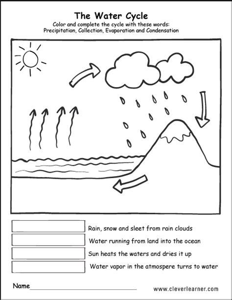 printable water cycle worksheets preschools water cycle