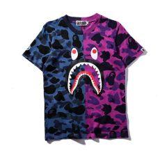 bape blue camo t shirt 17a bathing ape casual camo bape shark t shirt pattern neck shirt ebay