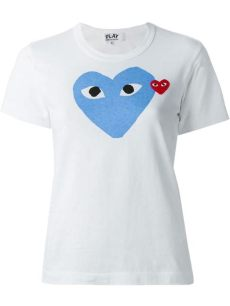 comme des garcons play white t shirt play comme des gar 231 ons printed t shirt in white lyst