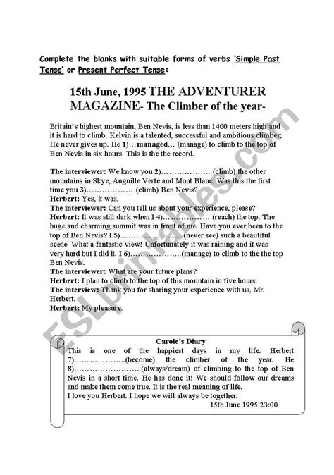 english worksheets reading activity present perfect tense lesson