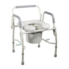 drive steel drop arm bedside commode with padded seat and arms grey health - Bedside Commode Padded Seat