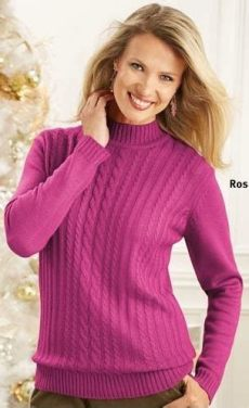 ladiessweater classic cable sweater in a variety of colors - Haband Womens Clothes