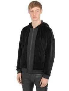 haider ackermann sweatshirt hm haider ackermann hooded cotton velvet sweatshirt in black for lyst