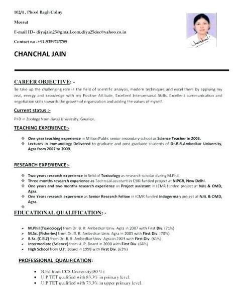 bsc zoology 3 resume format job resume job