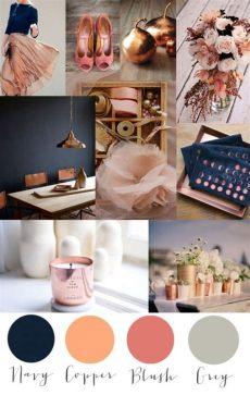 navy blush copper bedroom colorcrush kupfer navy blush und grau farbtrends dekor und farben