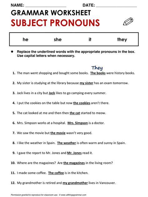english grammar subject pronouns allthingsgrammar pronounsml grammar worksheets