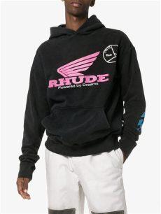 rhude clothing uk rhude logo print cotton hoodie in black for lyst