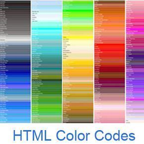 html color codes names images html color codes