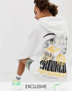 crooked tongues hoodie in white with postcard print crooked tongues oversized hoodie in white with palm and sun print asos
