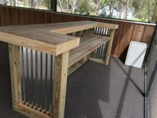 corrugated metal outdoor bar the 3 x 8 x 3 two level rustic corrugated metal and treated wood u shaped outdoor