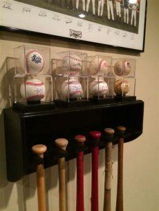 homemade baseball bat rack bat rack with baseball display shelf diy baseball bat holder with display shelf