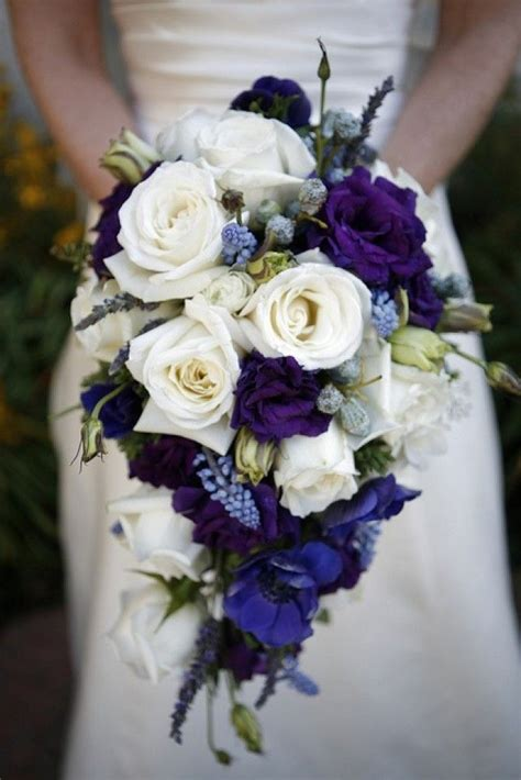 navy blue white wedding flowers silk wedding bouquets