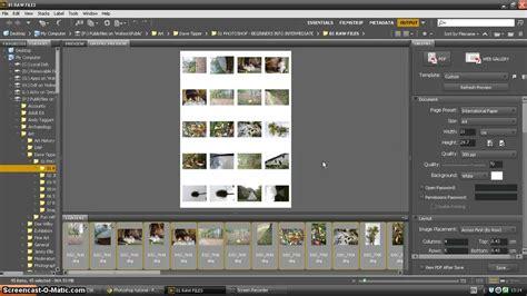 adobe bridge tutorial create contact sheet youtube