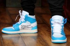 jordan 1 off white blue on feet white air 1 unc powder blue aq0818 148 sneakerfiles