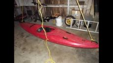 how to hang kayak from garage ceiling tutorial how to hang a kayak or canoe for storage