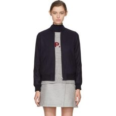 apc bomber jacket womens a p c wool navy norma bomber jacket in blue lyst