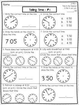 telling time activities assessments 2nd grade tpt