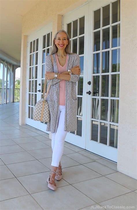 classic fashion 40 50 long cardigan white leggings