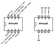 attiny85 isp pins how to turn your arduino into an isp programming the atmel attiny85