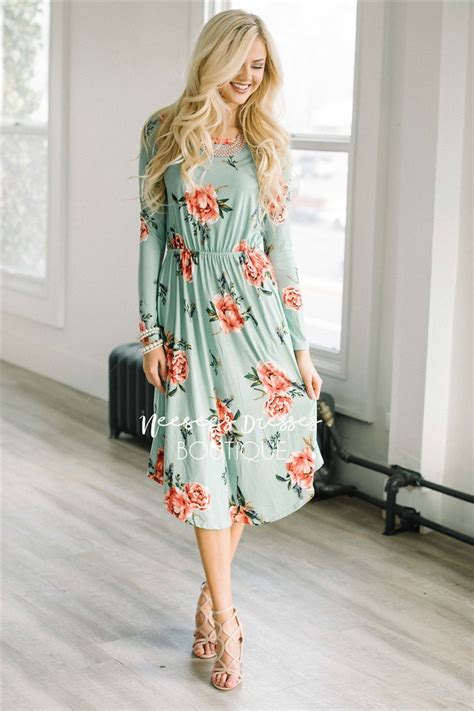 mint pink floral pocket modest dress modest dress
