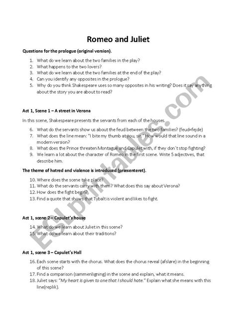 romeo juliet esl worksheet ronnex