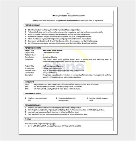 resume template freshers 18 sles word foramt