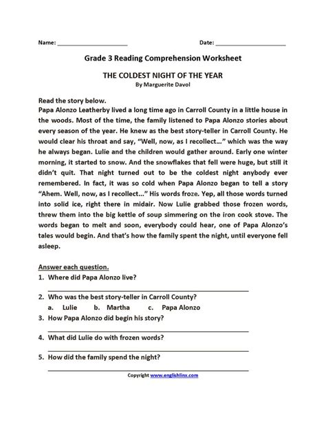 coldest night year grade reading worksheets reading comprehension