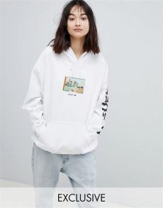 crooked tongues oversized hoodie in white with postcard print asos - Crooked Tongues Hoodie In White With Postcard Print