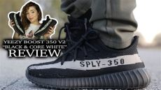 adidas yeezy boost 350 v2 quot black white quot review on foot - Yeezy Boost 350 V2 Whitecore Blackred On Feet