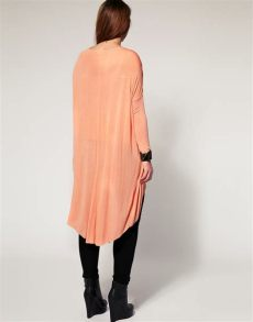 asos curve collection asos collection asos curve jersey top with dip back in coral pink lyst