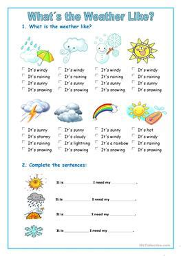 125 free esl weather worksheets kindergartners nursery school