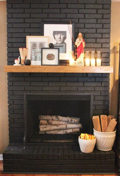 black painted brick fireplace restoration