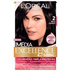 efassor loreal cabelo preto tintura creme im 233 dia excellence l or 233 al preto cl 225 ssico 2 r 31 20 em mercado livre