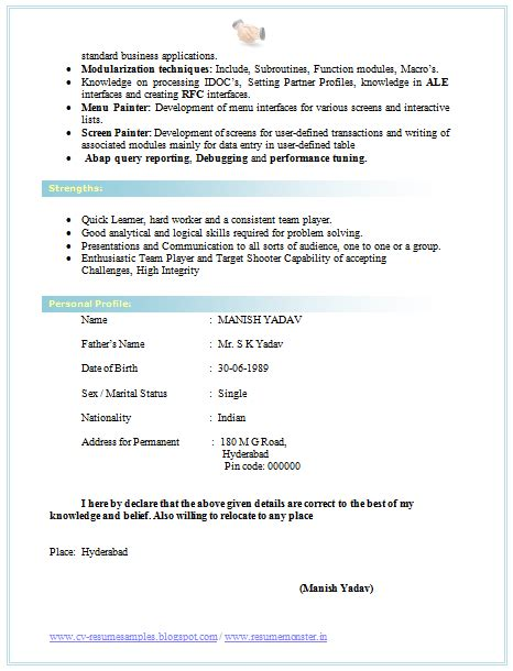 cv format bsc 2 resume format download cv