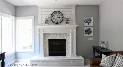 fireplace reveal walls pelican gray benjamin moore kitchen