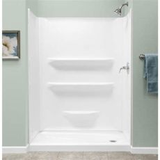 acrylic shower lowes shop style selections white acrylic shower base common 27 in w x 54 in l actual 27 in w x 53
