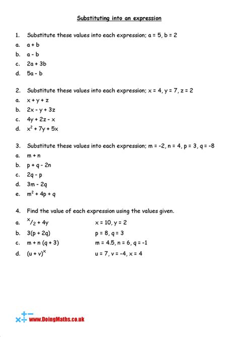 substitution worksheet math worksheet algebraic expressions algebra worksheets
