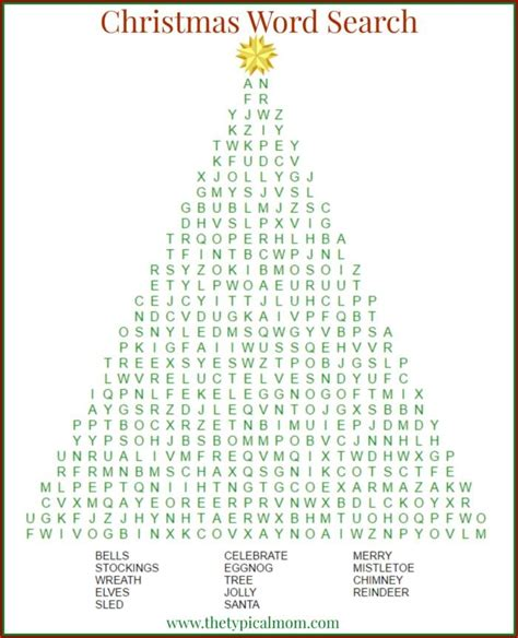 free christmas word search printables tree gingerbread man